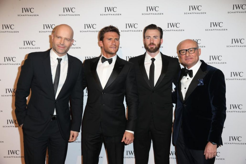 "HANDOUT - Marc Forster, Scott Eastwood, Chris Evans and IWC Schaffhausen CEO Georges Kern attend the IWC ""Come Fly with us"" Gala Dinner during the launch of the Pilot's Watches Novelties from the Swiss luxury watch manufacturer IWC Schaffhausen at the Salon International de la Haute Horlogerie (SIHH) 2016 on January 19, 2016 in Geneva, Switzerland. (PHOTOPRESS/IWC)"