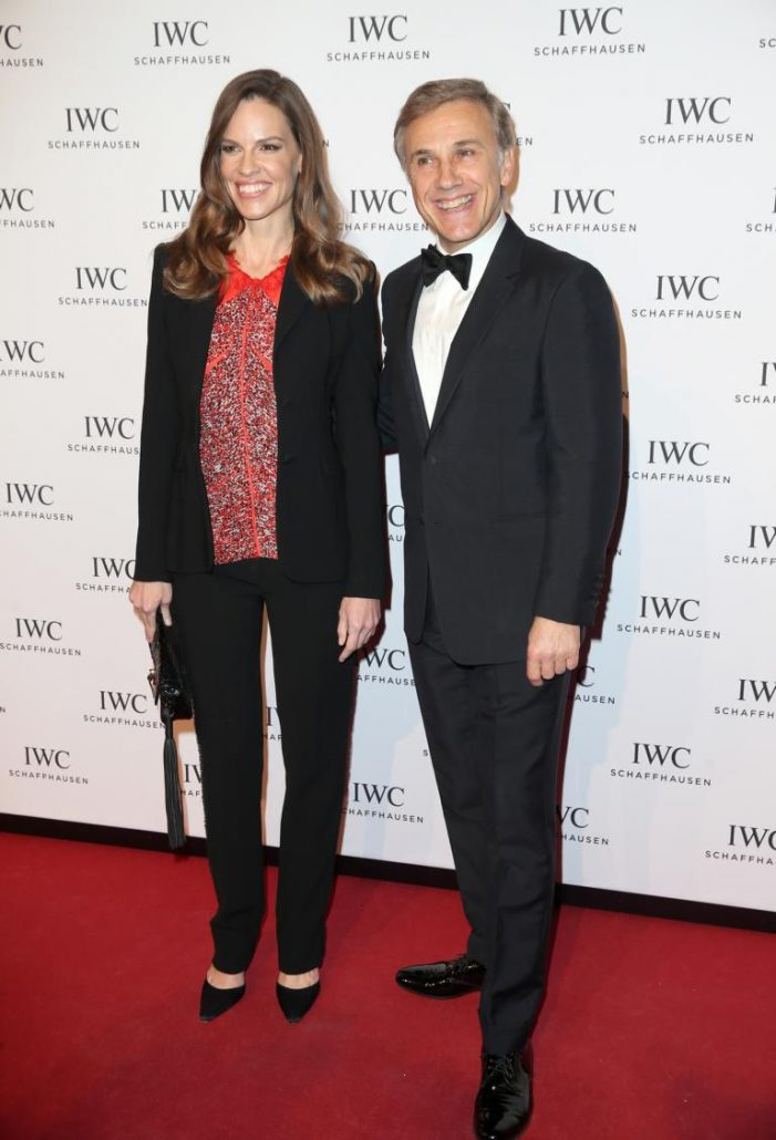 "HANDOUT - Hilary Swank and Christoph Waltz attend the IWC ""Come Fly with us"" Gala Dinner during the launch of the Pilot's Watches Novelties from the Swiss luxury watch manufacturer IWC Schaffhausen at the Salon International de la Haute Horlogerie (SIHH) 2016 on January 19, 2016 in Geneva, Switzerland. (PHOTOPRESS/IWC)"